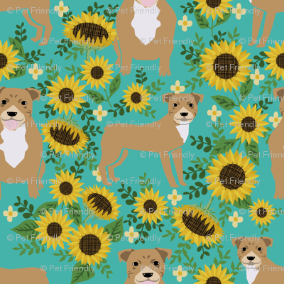 pitbull sunflowers fabric - cute pitbulls and summer florals design - turquoise
