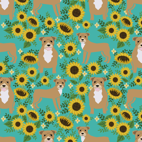 pitbull sunflowers fabric - cute pitbulls and summer florals design - turquoise fabric by petfriendly on Spoonflower - custom fabric