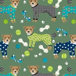 pitbulls in pjs fabric - cute pitbull dog design - pitbull pajamas - green