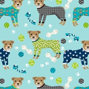 pitbulls in pjs fabric - cute pitbull dog design - pitbull pajamas - blue