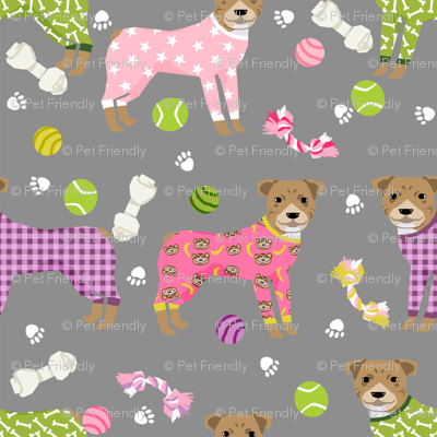 pitbulls in pjs fabric - cute pitbull dog design - pitbull pajamas- grey