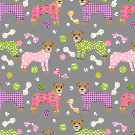 pitbulls in pjs fabric - cute pitbull dog design - pitbull pajamas- grey fabric by petfriendly on Spoonflower - custom fabric