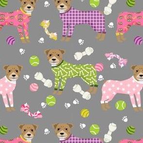 pitbulls in pjs fabric - cute pitbull dog design - pitbull pajamas- grey
