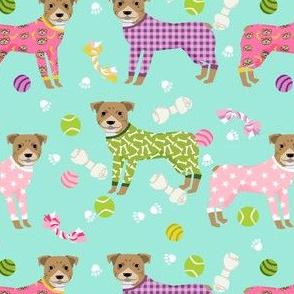 pitbulls in pjs fabric - cute pitbull dog design - pitbull pajamas - mint