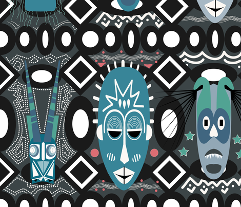 AFRICAN Masks fabric by colo_alonso on Spoonflower - custom fabric