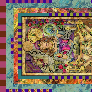 THE HIGH PRIESTESS FORTUNE TELLER TAROT CARD FAT QUARTER PANEL MAJOR ARCANA