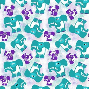 Elephants Purple and Teal - Marble