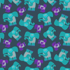 Elephants Purple and Teal - Charcoal Gray