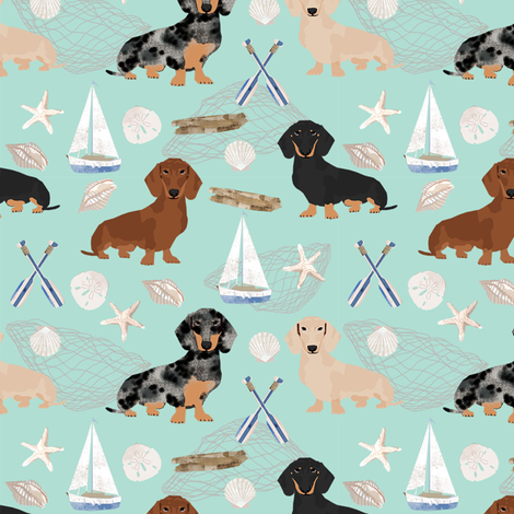 Doxie Coastal fabric - dogs at the coast, summer, sand dollar, beach design - mint fabric by petfriendly on Spoonflower - custom fabric