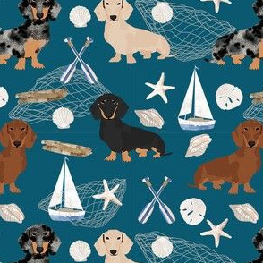 Doxie Coastal fabric - dogs at the coast, summer, sand dollar, beach design - blue