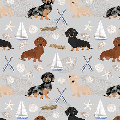 Doxie Coastal fabric - dogs at the coast, summer, sand dollar, beach design - grey fabric by petfriendly on Spoonflower - custom fabric