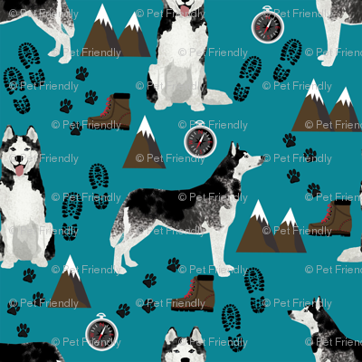 husky fabric siberian husky dog mountains hiking compass paw prints fabric - teal