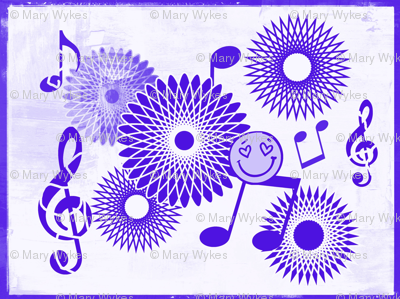 Mini Musical Daze in Purple on Pastel,  MD43mini