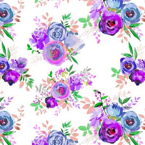 Spring 2018 Painted Floral Collection PURPLE Bouquets 7x6""
