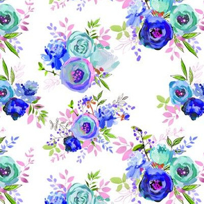 """Spring 2018 Painted Floral Collection BLUE Bouquets 7x6"""""""
