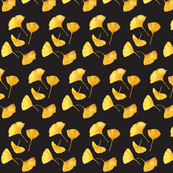 Golden Gingkos on Black