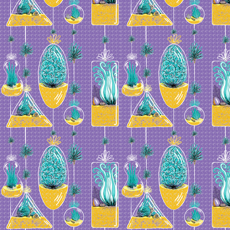 Air Plants in Hanging Glass Terrariums, purple violet yellow gold green, small scale fabric by amy_g on Spoonflower - custom fabric