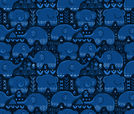 African elephants. Dark blue pattern. fabric by kostolom3000 on Spoonflower - custom fabric