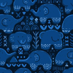 African elephants. Dark blue pattern.
