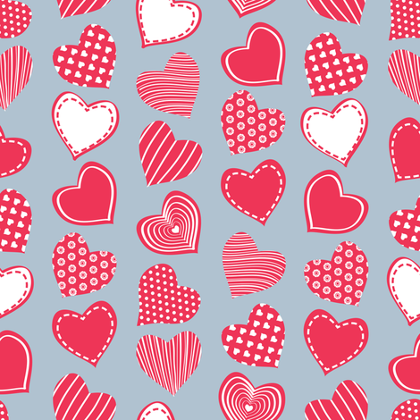 Valentines joy // blue grey background red hearts fabric by selmacardoso on Spoonflower - custom fabric