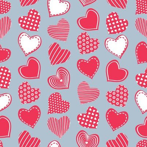 Valentines joy // blue grey background red hearts