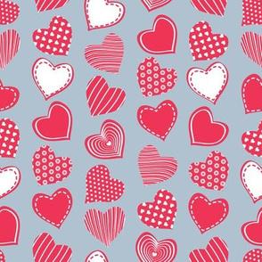 Valentines joy // blue grey background red hearts
