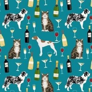 custom border collie, english pointer, tabby cat and wine fabric