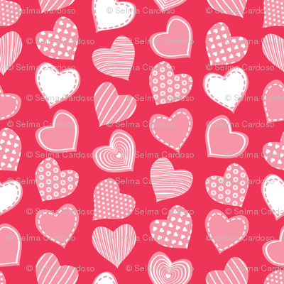 Valentines joy // red background pastel pink hearts