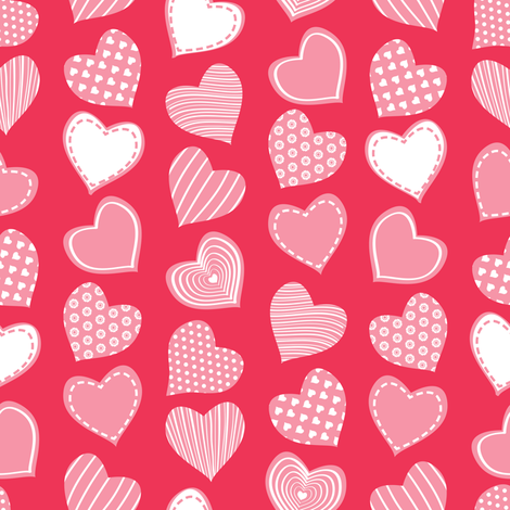 Valentines joy // red background pastel pink hearts fabric by selmacardoso on Spoonflower - custom fabric