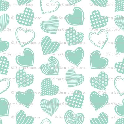 Valentines joy // white background mint hearts