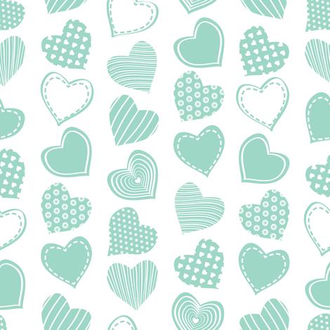Valentines joy // white background mint hearts fabric by selmacardoso on Spoonflower - custom fabric