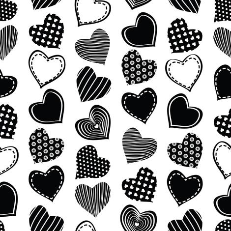 Valentines joy // white background black hearts fabric by selmacardoso on Spoonflower - custom fabric