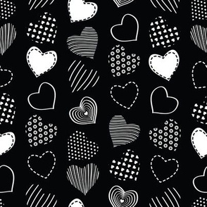 Valentines joy // black background white hearts