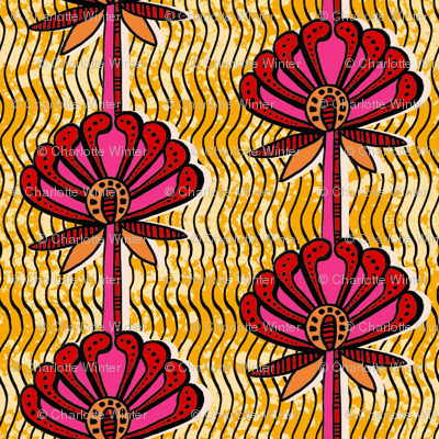 african inspired print - flower - gold and fuschia