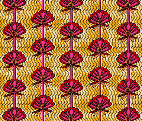 african inspired print - flower - gold and fuschia fabric by charlottewinter on Spoonflower - custom fabric