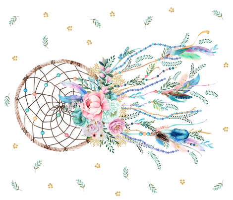 "42""X36"" 2018 AQUA MERMAID DREAMCATCHER fabric by shopcabin on Spoonflower - custom fabric"