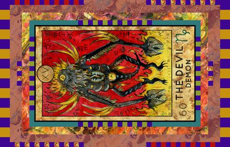 THE DEVIL DEMON TAROT CARD PANEL MAJOR ARCANA fabric by floweryhat on Spoonflower - custom fabric