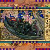 THE TOWER GARGOYLE TAROT CARD PANEL MAJOR ARCANA
