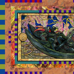 THE TOWER GARGOYLE TAROT CARD PANEL MAJOR ARCANA
