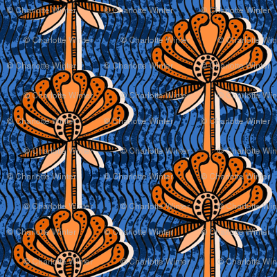african inspired print - flower - blue and orange