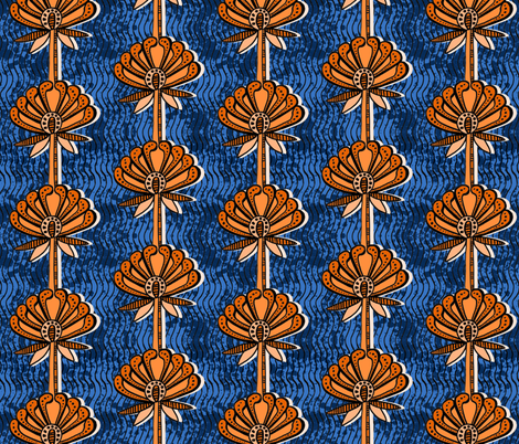 african inspired print - flower - blue and orange fabric by charlottewinter on Spoonflower - custom fabric