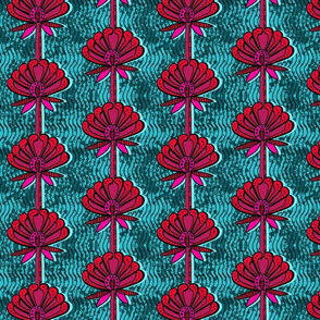 african inspired print - flower - teal and fuschia