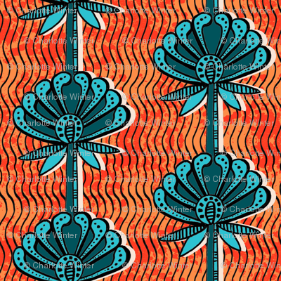 african inspired print - flower - bright orange and teal
