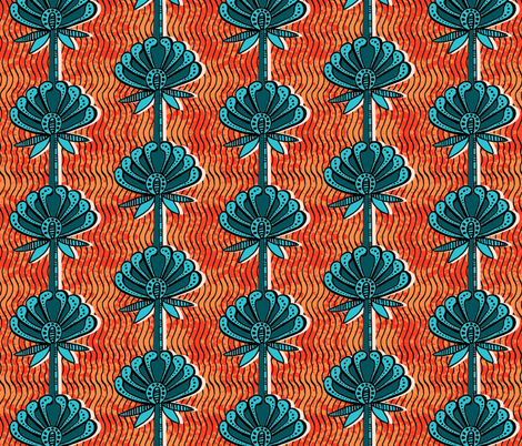 african inspired print - flower - bright orange and teal fabric by charlottewinter on Spoonflower - custom fabric