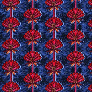 african inspired print - flower - navy and fuschia