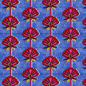 african inspired print - flower - blue and pink