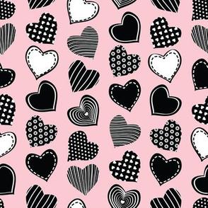 Valentines joy // pastel pink background black hearts