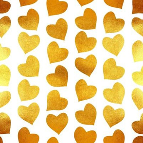 Valentines joy // small scale // white background golden hearts
