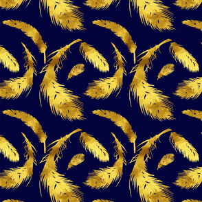 Royal Blue & Gold Feathered Flock