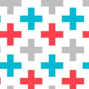 multi cross - red, blue, grey